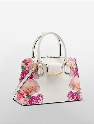 Calvin Klein Calvin Klein Womens Saffiano Leather Satchel White Floral