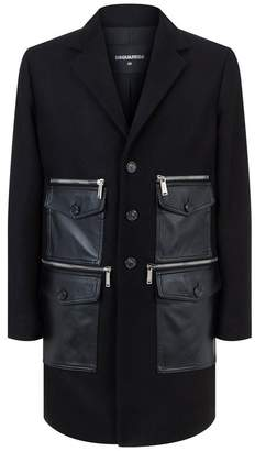DSQUARED2 Leather Patch Wool Coat