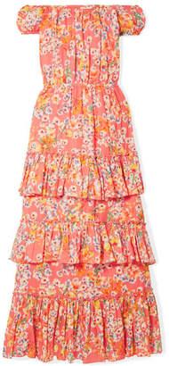Eywasouls Malibu - Inka Off-the-shoulder Floral-print Cotton-voile Maxi Dress - Orange