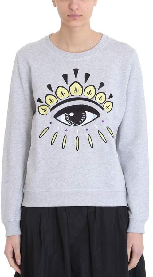 Embroidered Eye Grey Cotton Sweatshirt