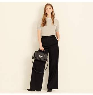 Amanda Wakeley Black Satin Wide Leg Trousers