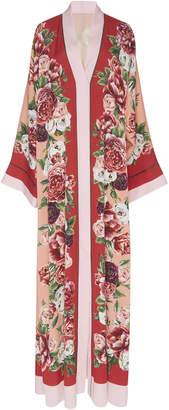 Dolce & Gabbana Peony Print Long Sleeve Stretch Silk Abaya