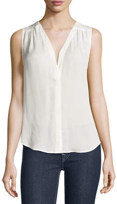 Joie Camino Sleeveless Silk Top, Porcelain