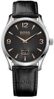 BOSS Analog Commander Classic Stainless Steel and Leather Strap Watch