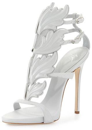 Giuseppe Zanotti Coline Wings Suede High-Heel Sandal, White