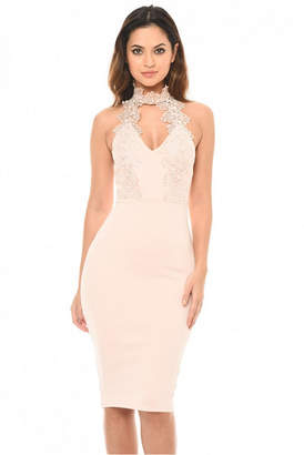 AX Paris Blush Halter neck Choker Dress with Lace Detail