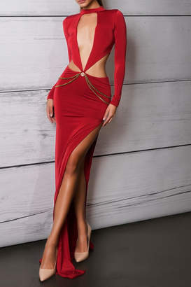 Savee Couture Red Cut Out Dress