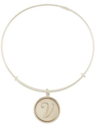 Alex and Ani Sterling Silver Initial V Charm Wire Bangle