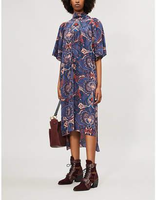 See by Chloe High-neck paisley-print silk midi dress