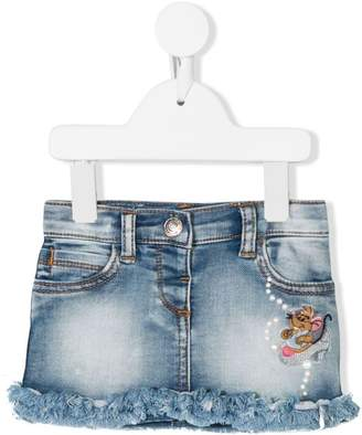 MonnaLisa mouse patch denim skirt