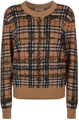 Burberry Scribble Check Printed Sweater
