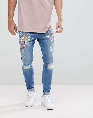 SikSilk Super Skinny Fit Drop Crotch Jeans With Paint And Knee Rips