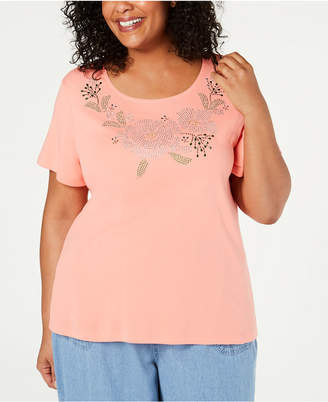 Karen Scott Plus Size Embellished T-Shirt