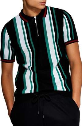 Topman Stripe Zip Polo