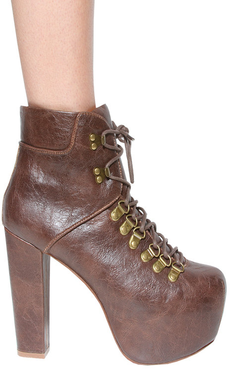 Everest Bootie in Brown - by Jeffrey Campbell