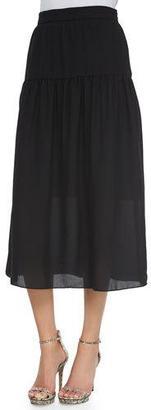 Neiman Marcus Linen Peasant Maxi Skirt, Black $200 thestylecure.com