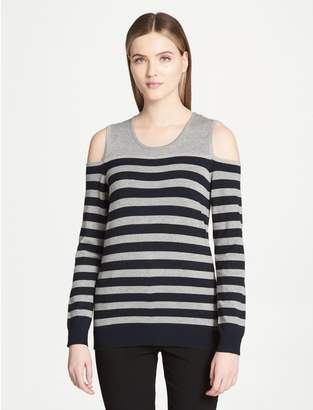 Calvin Klein striped cold shoulder lurex top