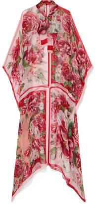 Dolce & Gabbana Pussy-bow Floral-print Silk-chiffon Kaftan - Pink