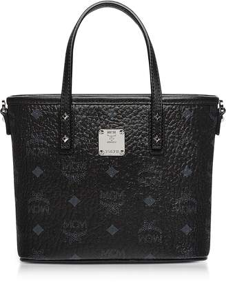 MCM Mini Black Eco Leather Top Zip Shopping Bag