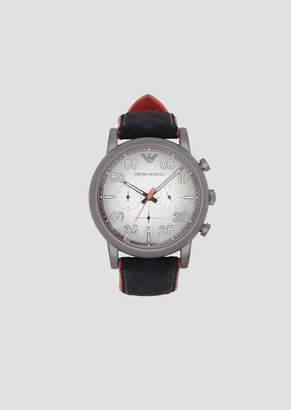 Emporio Armani Chronograph With Round Dial And Velcro Suede Strap