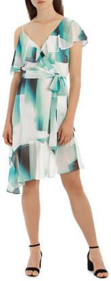 Asymmetric Mint Frill Dress