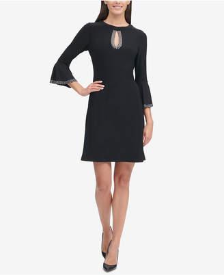 Tommy Hilfiger Embellished Bell-Sleeve A-Line Dress