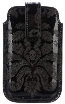 Alexander McQueen Embossed Patent Leather Phone Case Black Embossed Patent Leather Phone Case