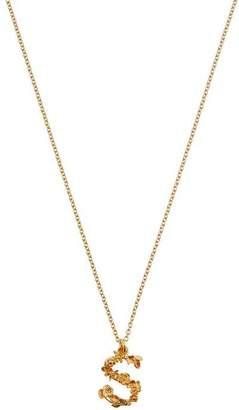 Alex Monroe Gold-Plated Floral Letter S Alphabet Necklace