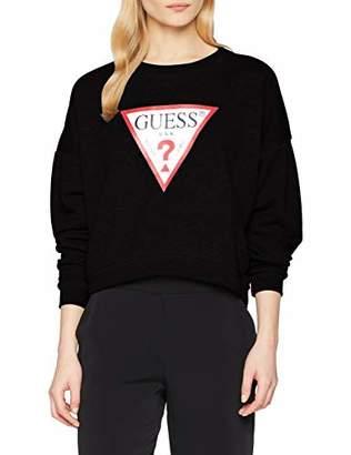GUESS Women's Basic Fleece Sweatshirt, Burn Black F97D, S