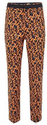 HUGO BOSS Regular-fit cropped trousers in puzzle-design stretch jacquard