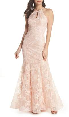 Xscape Evenings Ruched Lace Halter Mermaid Gown