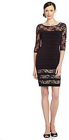 Sangria Shutter Lace Sheath Dress
