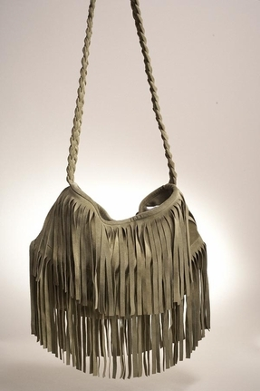 JJ Winters Suede Fringe Bag in Avocado Green
