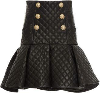 Balmain Short Ruffled Leather Skirt