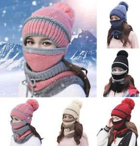 Meigar 3PCS/Set Women Warm Knitted Hat Cap Mask Scarf Neck Thickened Wool Knit Plush