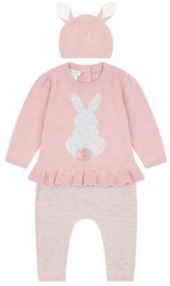 Monsoon Baby Girls' Pink Newborn 3 Piece Bunny Knitted Set