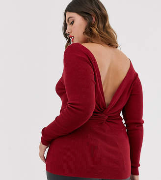Urban Bliss Plus fitted wrap back jumper