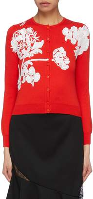 Oscar de la Renta Sequin toile du Jouy virgin wool cropped cardigan