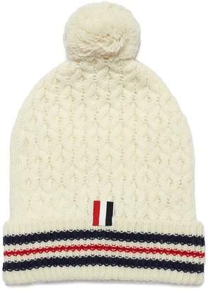 Thom Browne Pompom stripe wool cable knit beanie