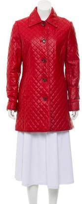 Neiman Marcus Button-Accented Leather Coat