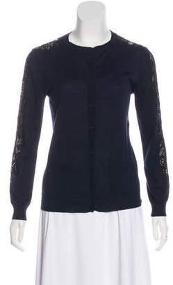 Nina Ricci Silk Lace-Accented Cardigan