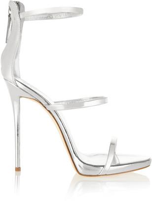 Giuseppe Zanotti - Harmony Metallic Leather Sandals - Silver $845 thestylecure.com