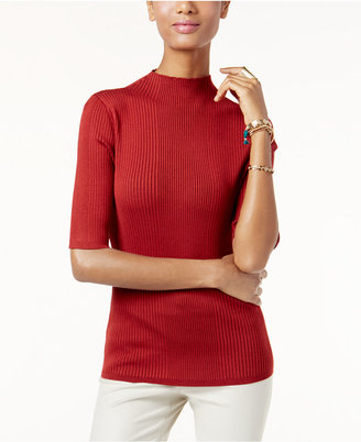 INC International Concepts Mock-Neck Ribbed Sweater, Only at Macy's $49.50 thestylecure.com
