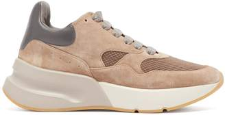 Alexander McQueen Raised-sole low-top suede and mesh trainers