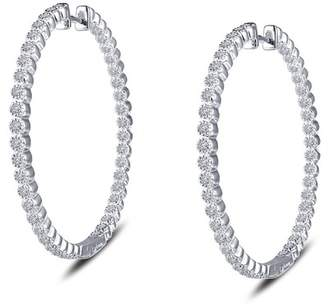 Lafonn Platinum Plated Sterling Silver CZ Accented Hoop Earrings