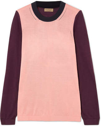 Burberry Color-block Silk And Cashmere-blend Sweater - Pink