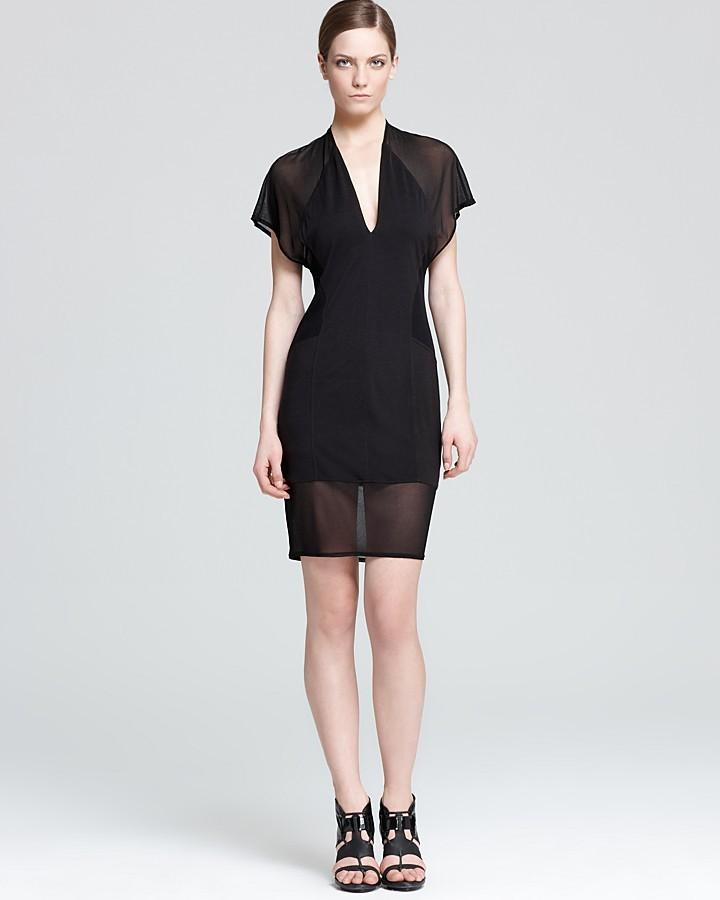 Helmut Lang Short Sleeve Dress - Chrome Jersey