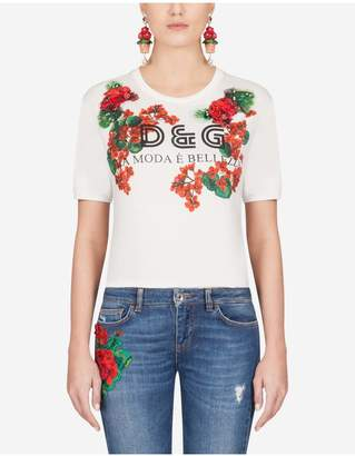 Dolce & Gabbana Printed Jersey T-Shirt With Embroidery