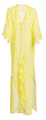 Jonathan Simkhai Women's Gingham Ruffle Long Robe