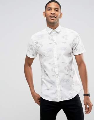 Jack and Jones Originals Short Sleeve Shirt With All Over Beach Print